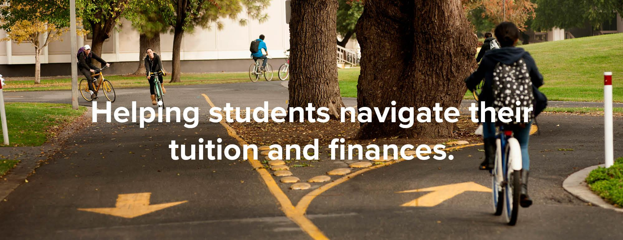 Students on two-directional bike path